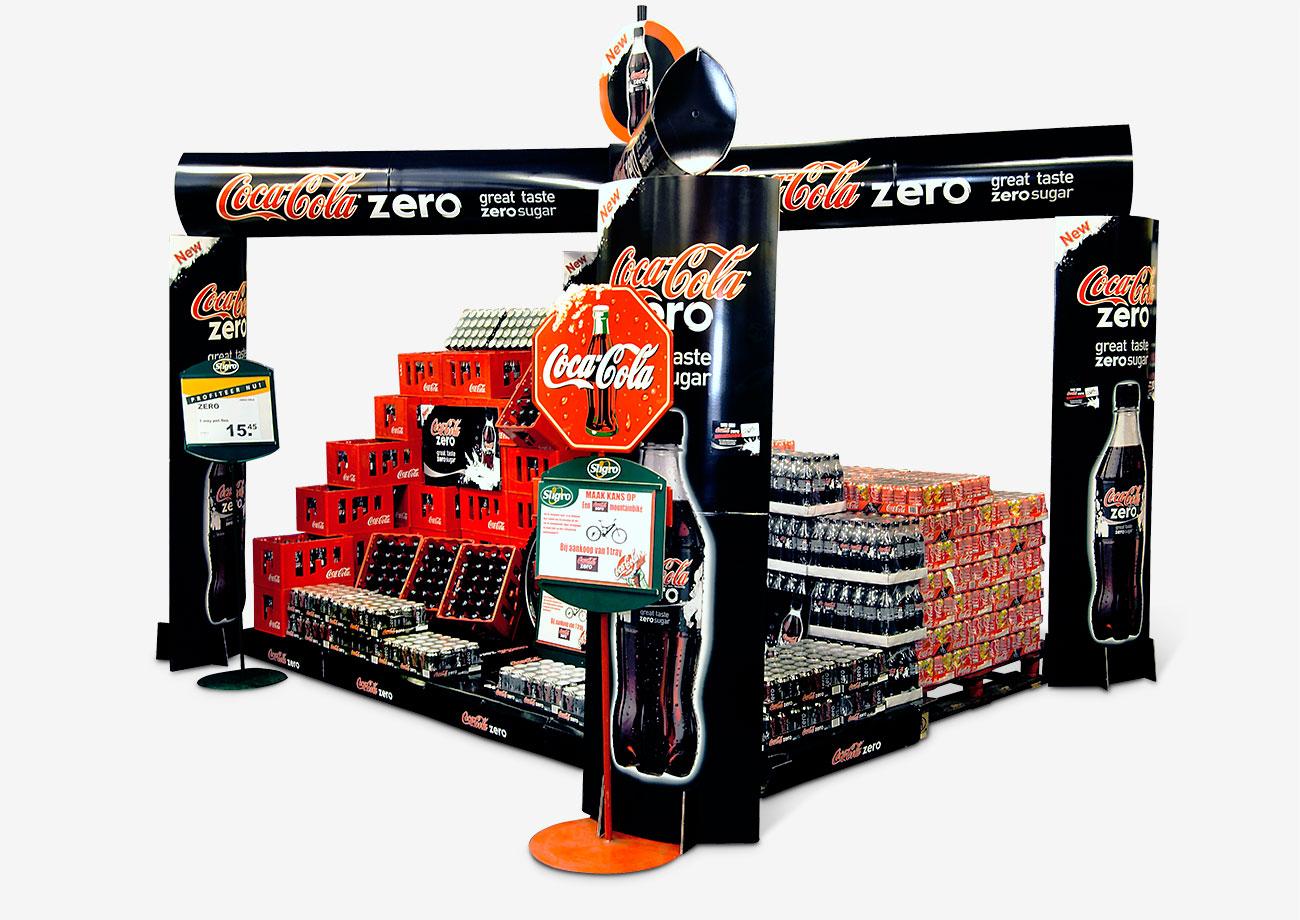 POS-Promotion - Großplatzierung für die MArkteinführung von Coca-Cola Zero