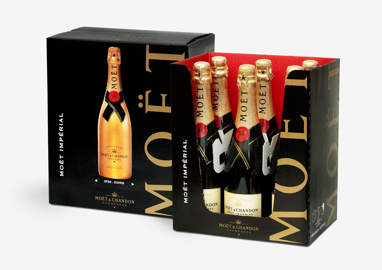 Verkaufsverpackung für Champagner mit Innendruck