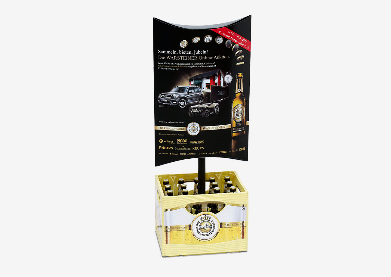 Promotion Material - Kastenstecker aus Wellpappe mit Papprohr