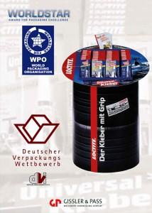 Henkel: Die Bodenplatzierung in Form eines Reifenstapels bekommt den Deutschen Verpackungspreis und den World Star Award.