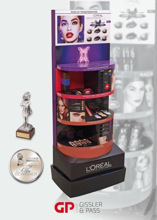 POPAI 2018: Silber für das hochwertige X-Fiber Display für L'Oréal
