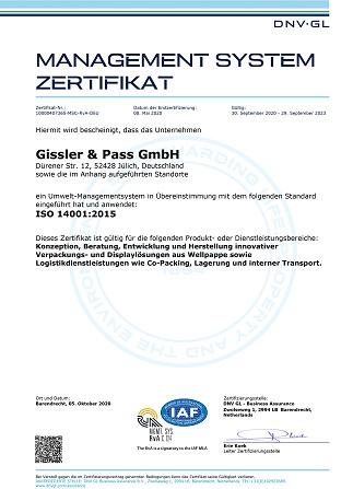 Zertifikat ISO 14001 Deutsch aktuell 1 323x447