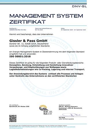 Zertifikat ISO 50001 Deutsch aktuell 1 323x447
